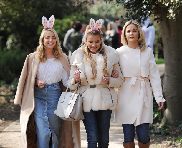 TOWIE stars Georgia Kousoulou, Georgia Bright and Lydia Bright pictured in fancy dress on an Easter egg hunt at Forty Hall in Enfield, 22nd March 2016
