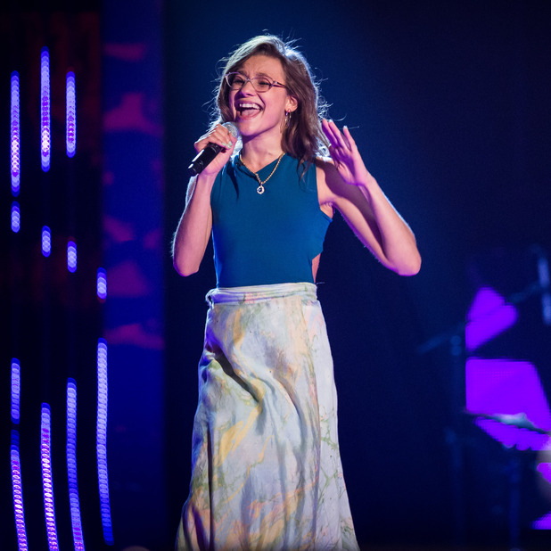 Chloe Castro performs on The Voice UK 2016.