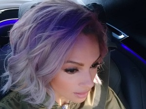 Alesha Dixon debuts purple/silver hair on way to video shoot for single, 'Stop,' 29 March 2016