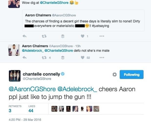 Aaron Chalmers forced to defend Chantelle Connelly on Twitter 29 March