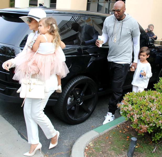 Khloe Kardashian and Lamar Odom with Penelope Disick and Mason Disick attending Easter church service, 27/3/16