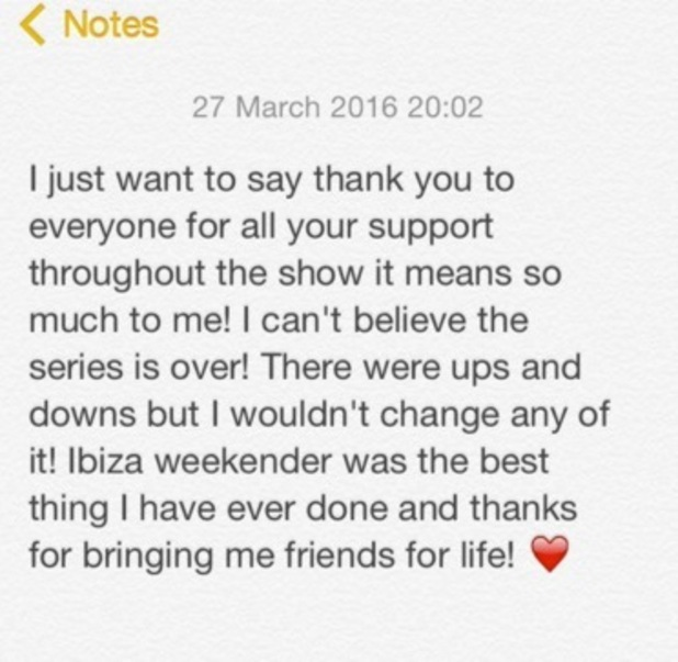 Ellie Young shares message following Ibiza Weekender finale 27 March