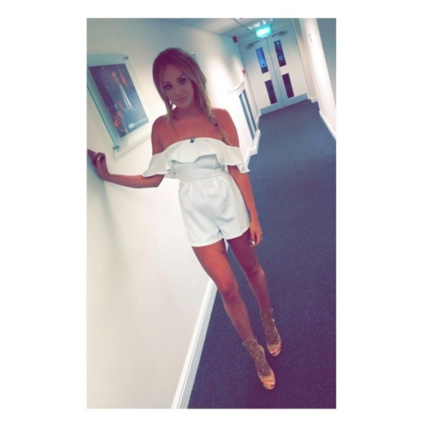 Geordie Shore's Charlotte Crosby wears white In The Style playsuit on Celebrity Juice, 31st March 2016