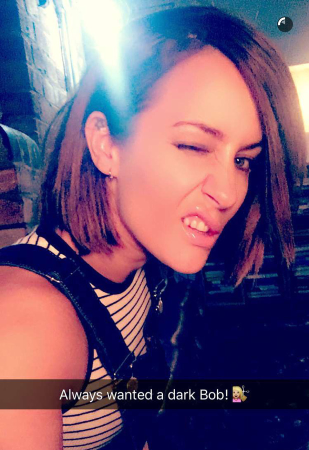 Former X Factor presenter Caroline Flack takes to Snapchat to show off her new darker, shorter hair 30th March 2016