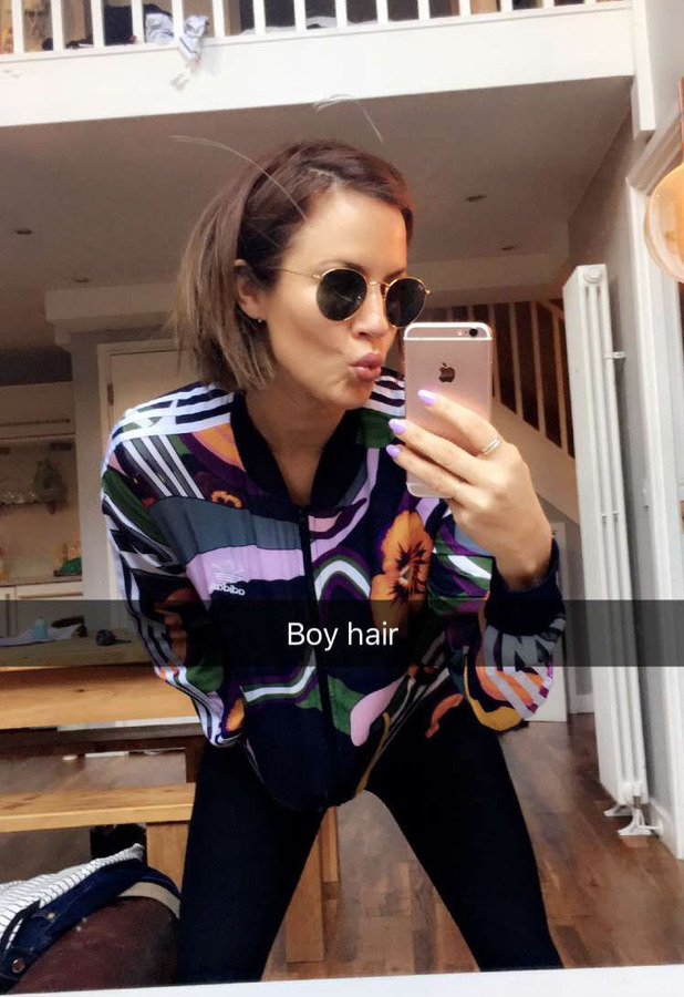 Caroline Flack takes to Snapchat to show off her new darker, shorter hair on Snapchat 30th March 2016
