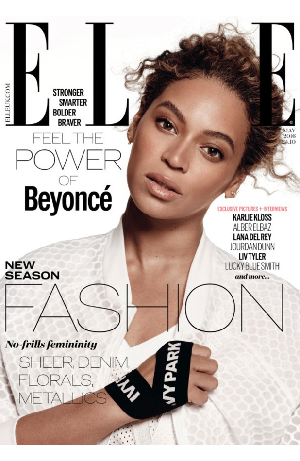 Beyonce on the front cover of ELLE UK, 1st April 2016