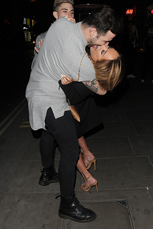 Charlotte Crosby shares playful kiss with friend outside Libertine nightclub, London 31 March 2016