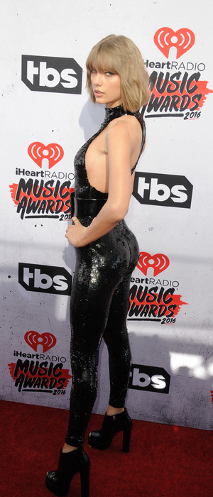 Taylor Swift wears sequin jumpsuit to the the iHeartRadio Awards at The Forum in Los Angeles, 3rd April 2016