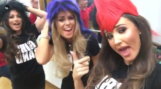 TOWIE's Megan McKenna, Chloe Meadows and Courtney Green wear Girlband T-shirt. 7 April 2016.