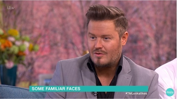 David Beckham lookalike Andy Harmer on This Morning. 8 April 2016.