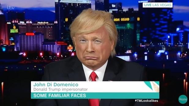Donald Trump lookalike John Di Domenico on This Morning. 8 April 2016.