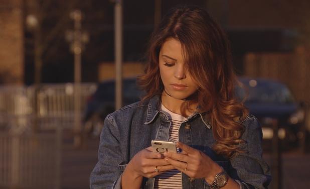 TOWIE Chloe Lewis texting. 10 April 2016.