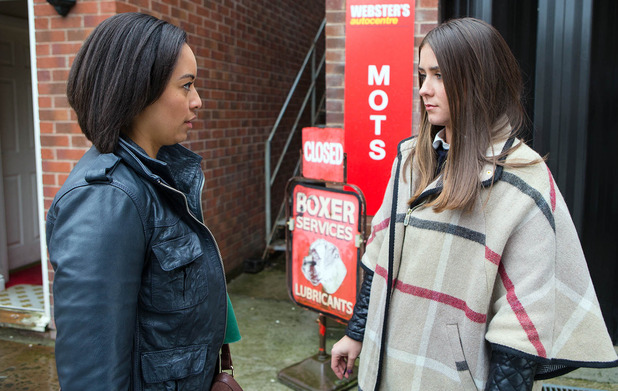Caz pulls up in a taxi and is annoyed to see Sophie and Kate together Coronation Street, to air 6 April 2016