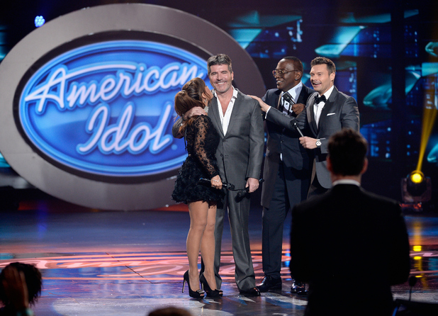 Paula Abdul, Simon Cowell, Randy Jackson and host Ryan Seacrest speak onstage during FOX's 'American Idol' Finale For The Farewell Season at Dolby Theatre on April 7, 2016 in Hollywood, California.