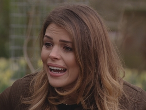 TOWIE: Chloe Lewis cries while speaking to Jake. 13 April 2016.