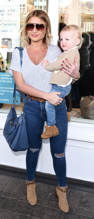 Billie Faiers and daughter Nelly at Amy Childs' Salon launch in Brentwood Essex, 12th April 2016