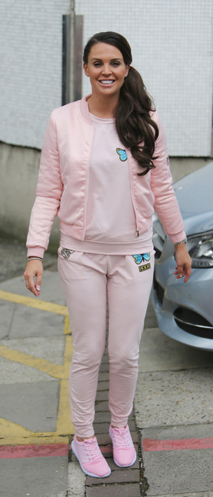 Danielle Lloyd wear all-pink tracksuit set to the ITV Studios in London, 14th April 2016