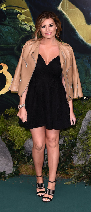 Former The Only Way Is Essex star Jess Wright wears little black dress to the European premiere of The Jungle Book, London, 13th April 2016