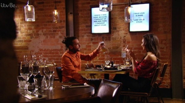 TOWIE: Megan and Pete on a date. 10 April 2016.