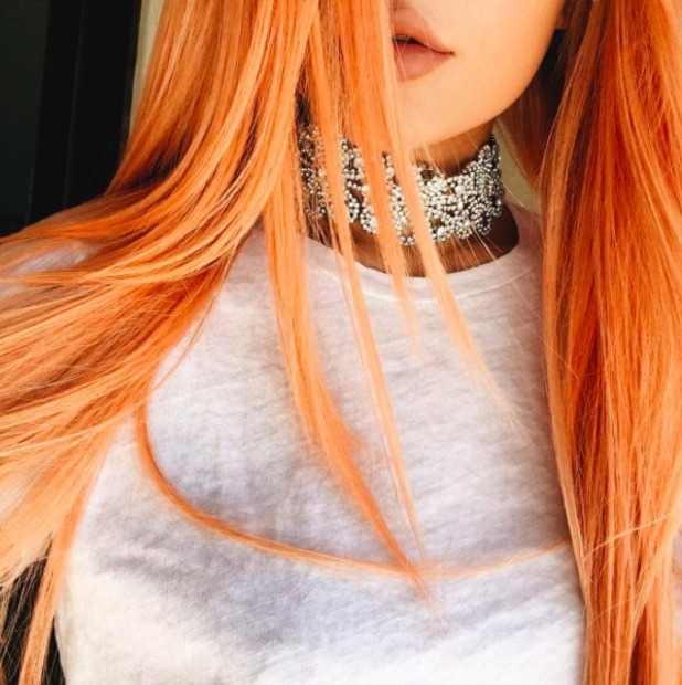 Kylie Jenner shows off newly-dyed peach hair, 16 April 2016.