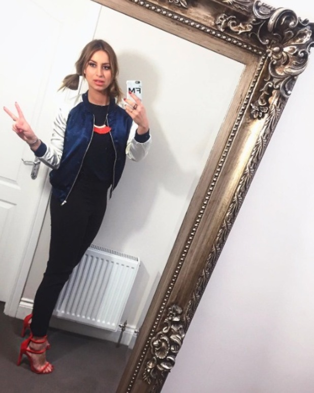 Former TOWIE star Ferne McCann shares outfit credits via selfie on Instagram, 14th April 2016