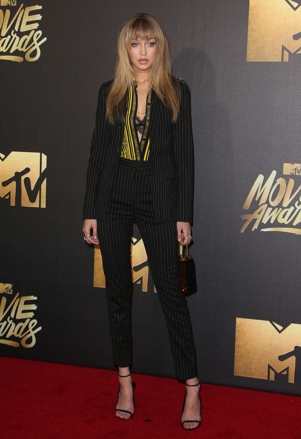 Model Gigi Hadid attends the MTV Movie Awards in Los Angeles, 10th April 2016