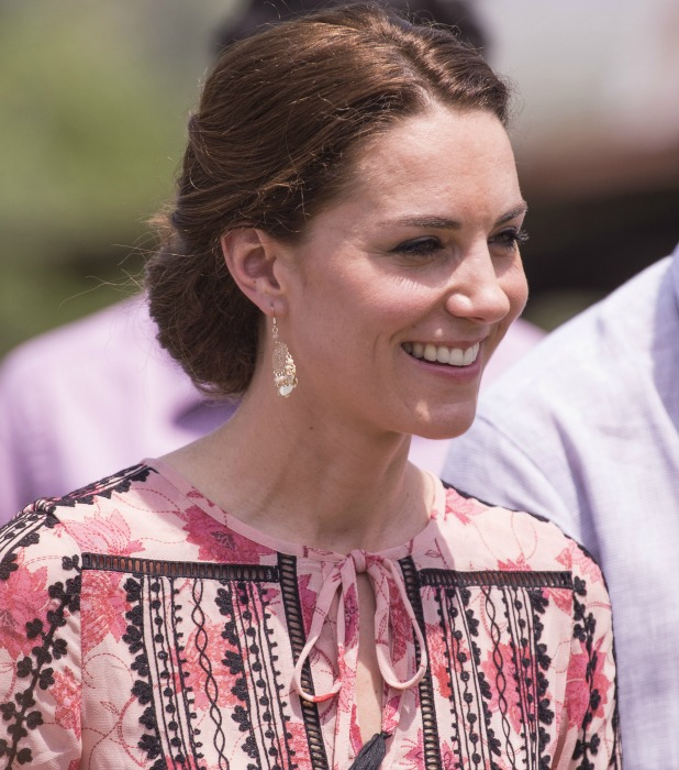 """Royals visits the village """"Pan Bari"""", where they met the head of the village and were entertained by a traditional dance from villagers. Kate Middleton 13 April 2016"""