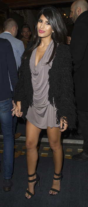 Former TOWIE star Jasmin Walia on night out at Cafe de Paris, 16th April 2016