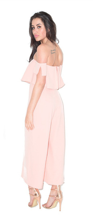 Geordie Shore's Marnie Simpson appears in Forever Modo fashion campaign, blush jumpsuit, 19th April 2016