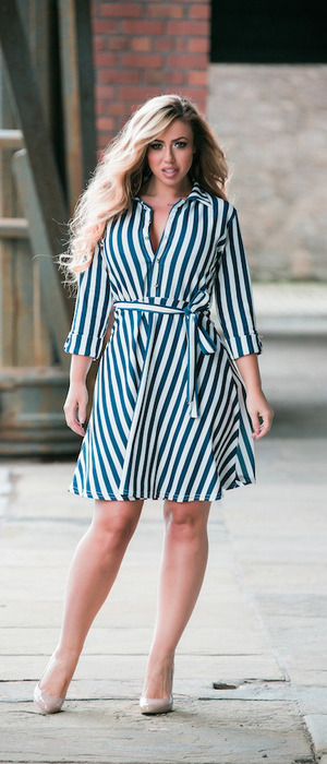 Holly Hagan for Want That Trend, pin stripe dress £22.95, 19th April 2016