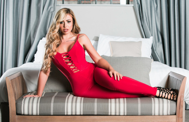 Geordie Shore's Holly Hagan unveils new online fashion collection with Want That Trend, red jumpsuit 19th April 2016