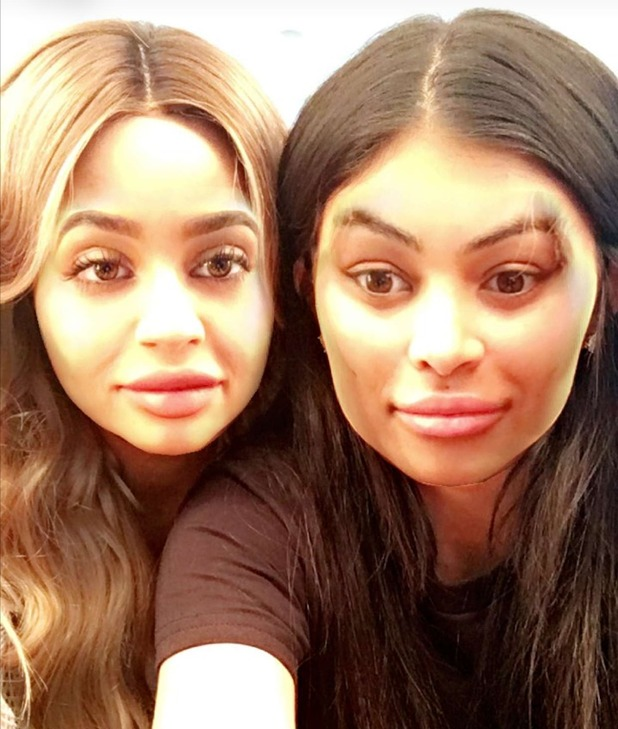 Kylie and Blac pose together on Snapchat - face swap. 21 April 2016.