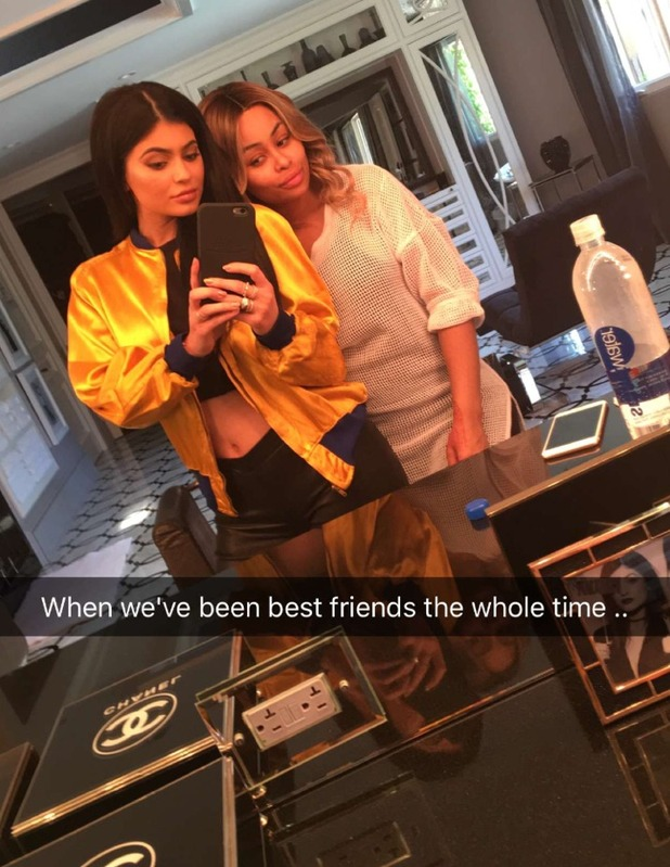 Kylie and Blac pose together on Snapchat. 21 April 2016.