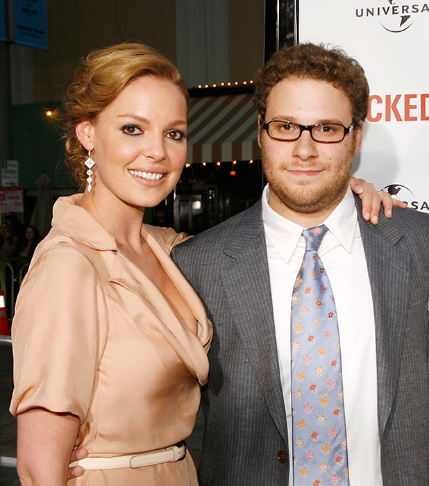 Actress Katherine Heigl and actor/executive producer Seth Rogen pose at the premiere of Universal Pictures' 'Knocked Up' at the Mann's Village Theater on May 21, 2007 in Los Angeles, California. (Photo by Kevin Winter/Getty Images)