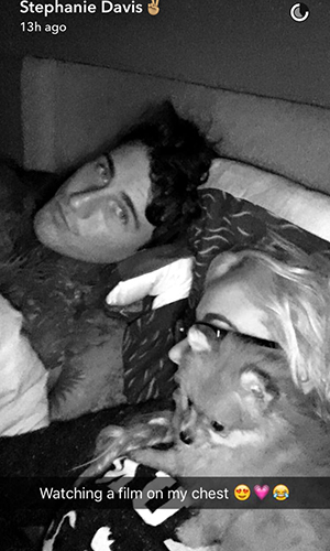 Stephanie Davis and Jeremy McConnell with puppy Simba 20 April 2016