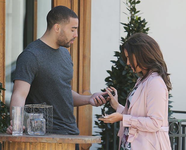 Vicky Pattison outside ITV Studios. Vicky meets Omari Caro and swaps numbers 20 April 2016