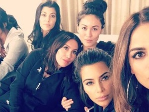 Kim Kardashian looks stunning on a girls' night in with her sisters