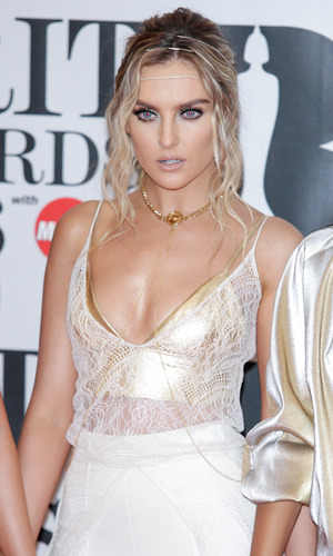 Perrie Edwards of Little Mix arrives at the BRIT Awards at The O2 Arena in London - 24 February 2016.
