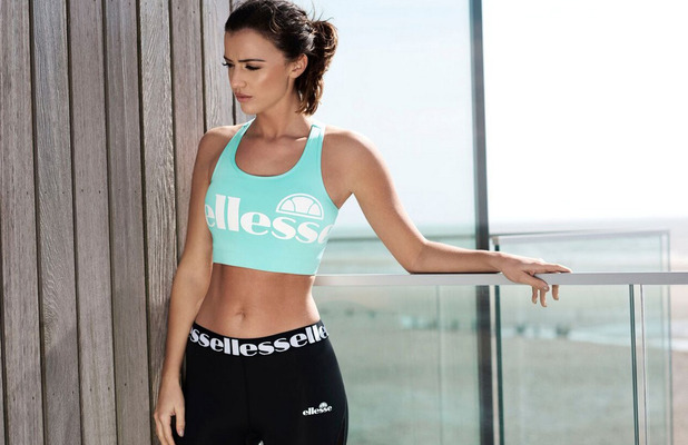 Former TOWIE star Lucy Mecklenburgh unveils her latest Ellesse sportswear drop, blue cropped top, 29th April 2016
