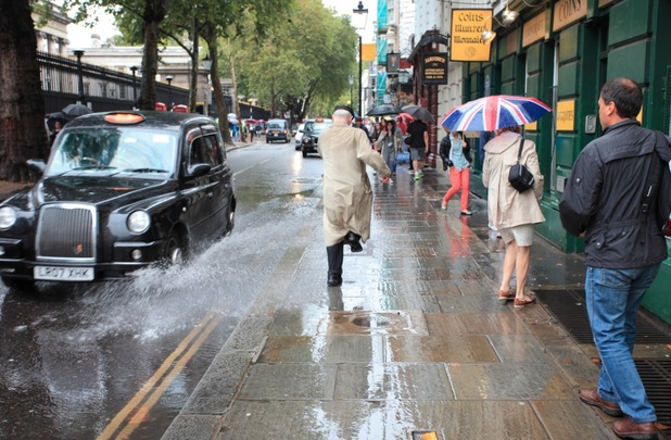 A serial puddle splasher is soaking people