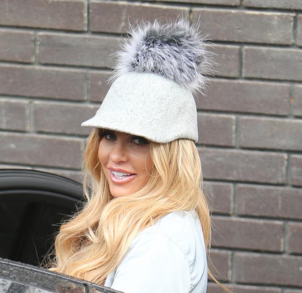 Katie Price wears unusual bobble hat outside ITV studios in London after Loose Women appearance, 26th April 2016