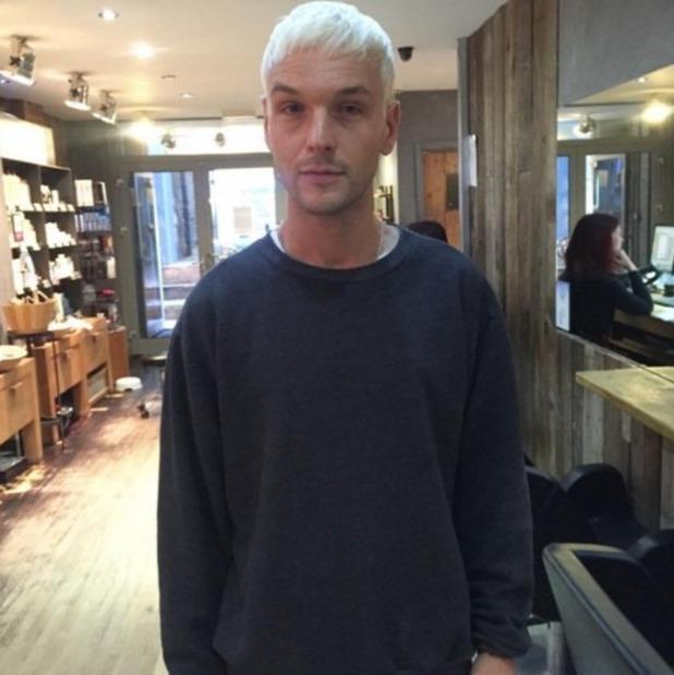 Preston dyes hair bright blonde, April 2016