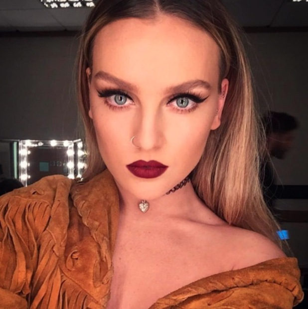 Perrie Edwards has her make-up done by make-up artist Adam Burrell on the Get Weird Tour, 24th April 2016