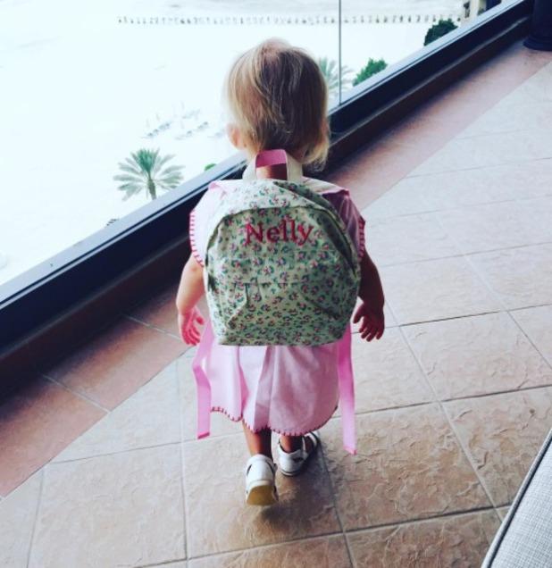 Billie Faier's daughter Nelly dons a rucksack in Dubai