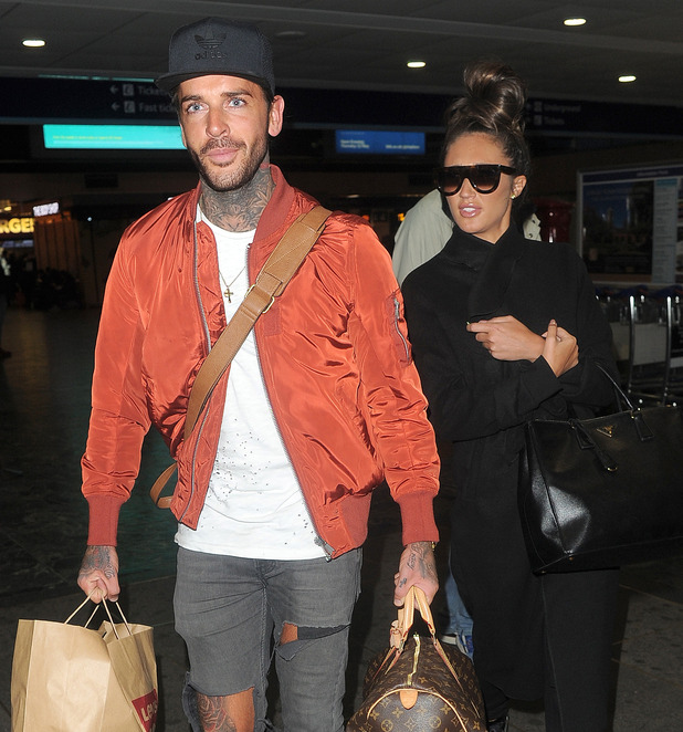 The Only Way Essex' stars Megan Mckenna and Pete Wicks arrive at Euston Station, on a train from Liverpool. 28 April 2016.