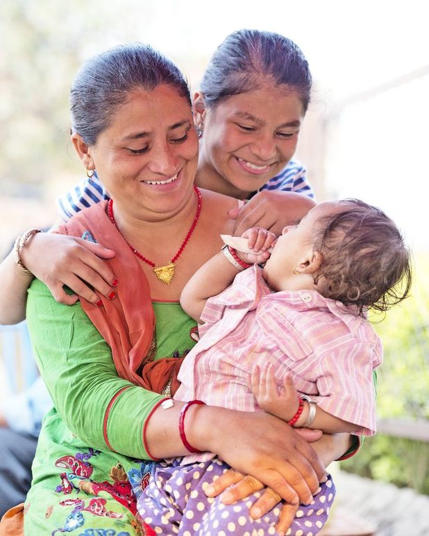 Sonies Aawal one year on from the Nepal earthquake with mum, Rasmilla, and sister, Sonia