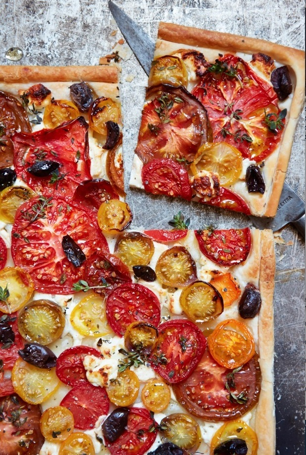 john waite's Rustic Mediterranean Tomato Tart recipe from perfect Plates cookbook