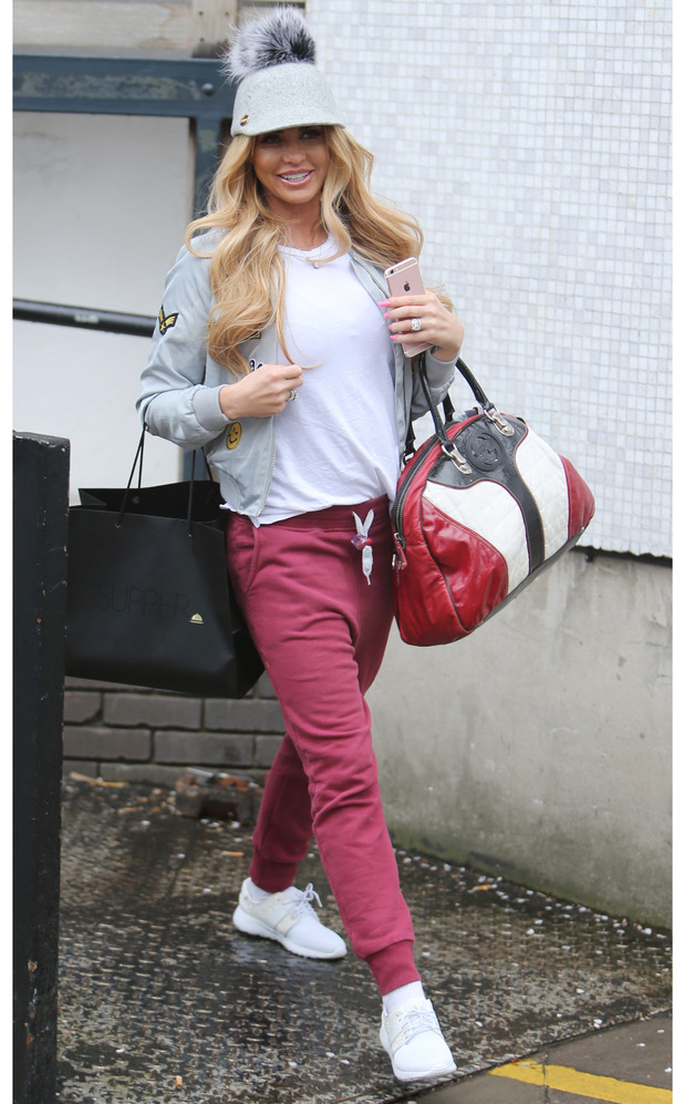 Katie Price seen out and about in London wearing grey bobble-style cap, 26th April 2016