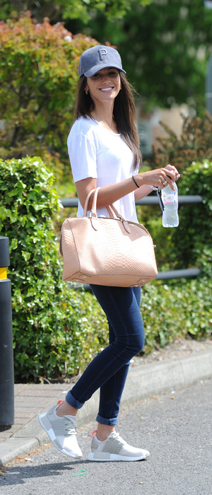 Michelle Keegan wearing jeans and a white t-shirt in Essex, 6th May 2016
