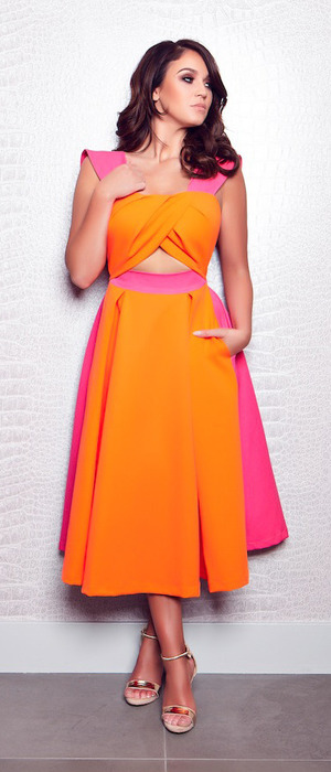 Geordie Shore's Vicky Pattison unveils her new SS16 clothing collection for Honeyz, pink and orange dress with floppy hem, 5th May 2016